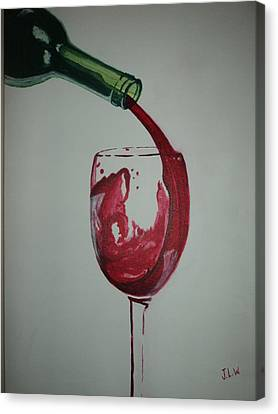 Canvas Print featuring the painting Red Wine by Justin Lee Williams