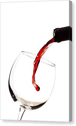 Wine-bottle Canvas Print - Red Wine Poured Into Wineglass by Dustin K Ryan
