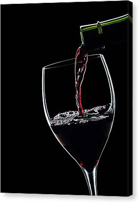 Red Wine Pouring Into Wineglass Splash Silhouette Canvas Print by Alex Sukonkin