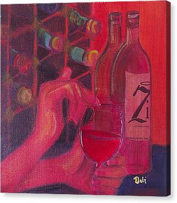 Red Wine Room Canvas Print by Debi Starr