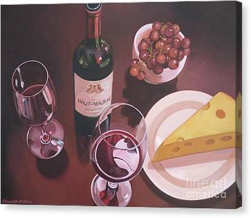 Red Wine Still Life I Canvas Print by Elisabeth Olver