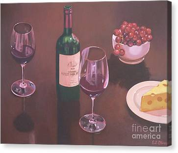 Red Wine Still Life II Canvas Print by Elisabeth Olver