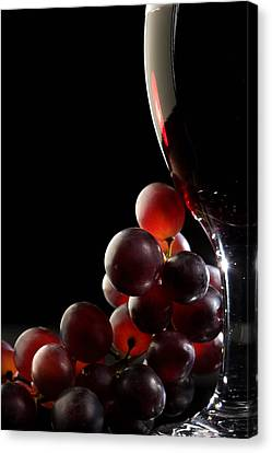 Red Wine With Grapes Canvas Print