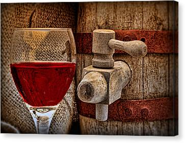 Wine Glasses Canvas Print - Red Wine With Tapped Keg by Tom Mc Nemar