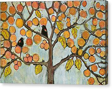 Red Winged Black Birds In A Tree Canvas Print by Blenda Studio