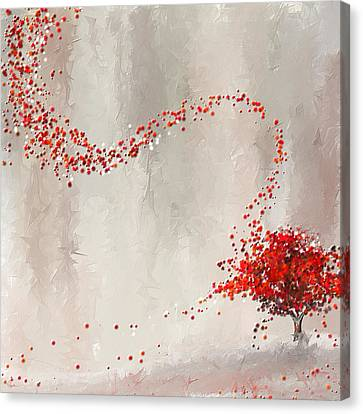 Red Winter Canvas Print by Lourry Legarde