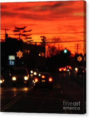 Red Winter Sunset Over Long Island Suburbs Canvas Print by John Telfer