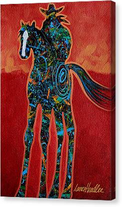 Contemporary Cowgirl Canvas Print - Red With Rope by Lance Headlee