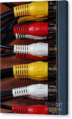 Red Yellow And White Cables Canvas Print by Amy Cicconi
