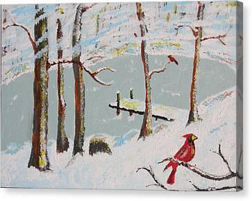 Redbird Winter Canvas Print by Harold Greer