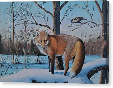 Redfox And Chickadee Canvas Print by Michael Wawrzyniec