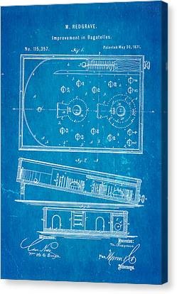 Flippers Canvas Print - Redgrave Bagatelle Patent Art 1871 Blueprint by Ian Monk