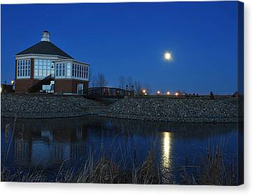 Redlin Art Center In Full Moon Canvas Print by Dung Ma