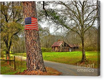 Old Country Roads Canvas Print - American Flag On The Redneck Flag Pole by Reid Callaway