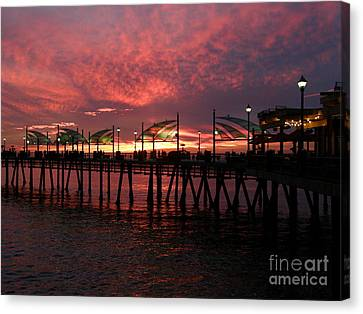 Redondo Beach Pier At Sunset Canvas Print by Bev Conover