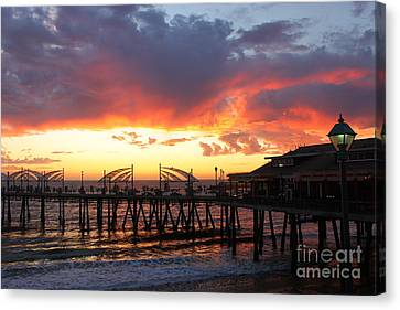 Redondo Pier Sunset Canvas Print by Bev Conover