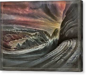Canvas Print featuring the pastel Redrocksamphiscapeb 2010 by Glenn Bautista