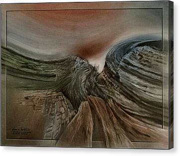Canvas Print featuring the pastel Redrockscapeb 2010 by Glenn Bautista