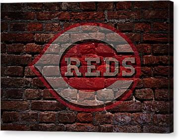 Reds Baseball Graffiti On Brick  Canvas Print by Movie Poster Prints