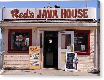 Reds Java House And The Bay Bridge At San Francisco Embarcadero Dsc1863 Canvas Print by Wingsdomain Art and Photography