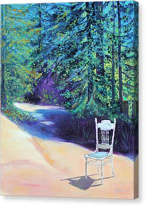 Canvas Print featuring the painting Redwood Path And White Chair by Asha Carolyn Young