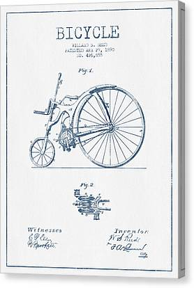 Reed Bicycle Patent Drawing From 1890 - Blue Ink Canvas Print by Aged Pixel