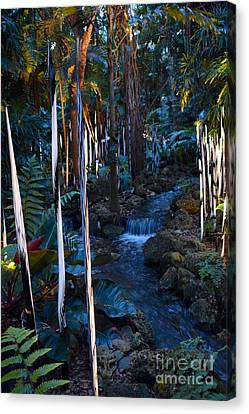 Reeds And Waterfall Canvas Print