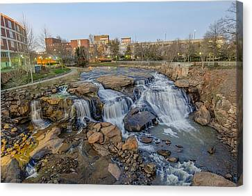 Reedy Falls At Dusk In Downtown Greenville Sc Canvas Print
