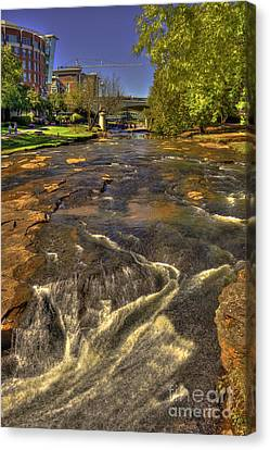 Reedy River Falls Flows On 2 Greenville Sc Canvas Print by Reid Callaway