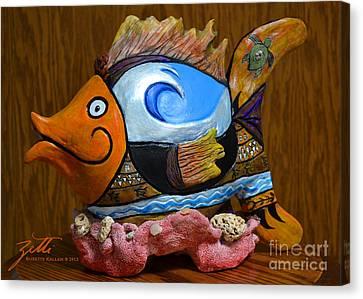 Canvas Print featuring the sculpture Reef Surfer by Suzette Kallen