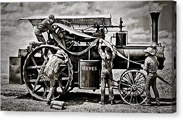 Reeves Steam Traction Engine Changing The Belt Canvas Print by F Leblanc