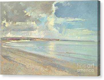 Reflected Clouds Oxwich Beach Canvas Print by Timothy  Easton