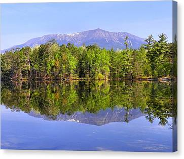 Canvas Print featuring the photograph Reflected Katahdin by Gene Cyr