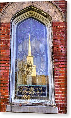 Reflected Steeple Canvas Print by Rebecca Hiatt