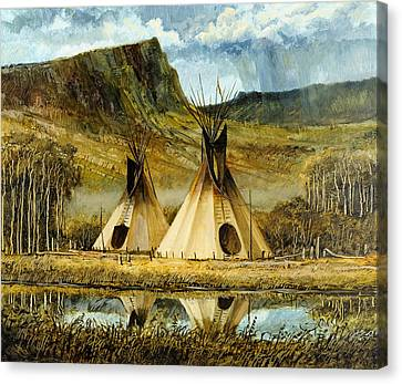 Canvas Print featuring the painting Reflected Tipis by Steve Spencer