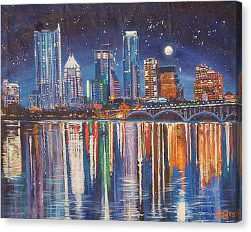 Reflecting Austin Canvas Print by Suzanne King