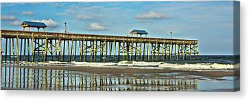 Canvas Print featuring the photograph Reflection Pier by Paula Porterfield-Izzo