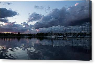 Turbulent Skies Canvas Print - Reflecting On Boats And Clouds by Georgia Mizuleva