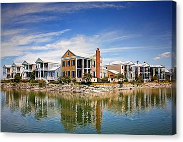 Reflecting On New Town Canvas Print by Bill Tiepelman