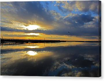 Canvas Print featuring the photograph Reflection Grays Beach Boardwalk by Amazing Jules