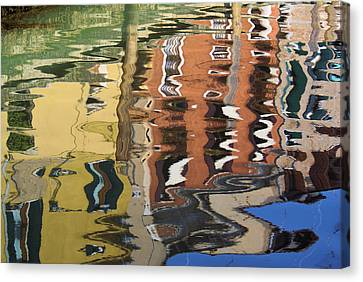 Reflection In A Venician Canal Canvas Print by Ron Harpham