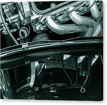 Reflection In Black - Ford Corba Engines Canvas Print by Steven Milner