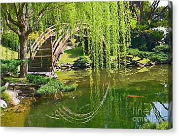 Reflection - Japanese Garden With Moon Bridge And Lotus Pond And Koi Fish. Canvas Print by Jamie Pham