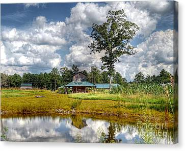 Canvas Print featuring the photograph Reflection Of A Farm House by Kathy Baccari
