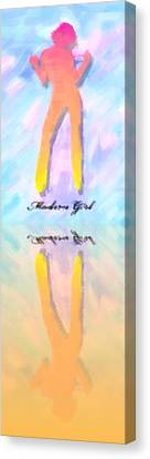 Full-length Portrait Canvas Print - Reflection Of A Modern Girl In Abstract Oil by Tommytechno Sweden