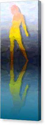 Full-length Portrait Canvas Print - Reflection Of A Modern Girl by Tommytechno Sweden