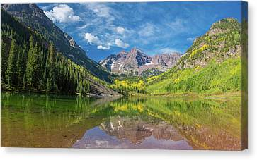 White River Scene Canvas Print - Reflection Of A Mountain On Water by Panoramic Images