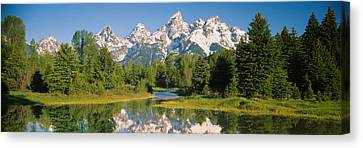 Evergreen Trees Canvas Print - Reflection Of A Snowcapped Mountain by Panoramic Images