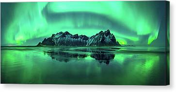 Reflection Of Aurora Borealis Canvas Print