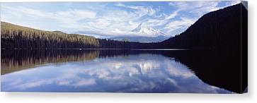 Reflection Of Clouds In A Lake, Mt Hood Canvas Print by Panoramic Images